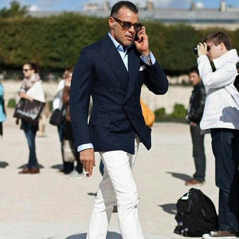 Formal Peaked Lapel Navy Blue Business Men Suits White Pants Men Blazer Groom Tuxedos Men Outfit 2Pcs Costume Homme Masculino