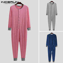 Men Pajamas Jumpsuit Overalls Sleepwear Rompers INCERUN Button Striped O-Neck Comfortable