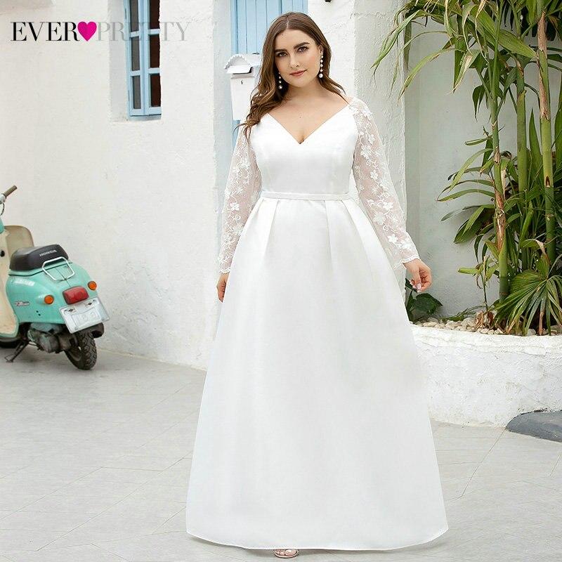 Elegant White Prom Dresses Ever Pretty A-Line Deep V-Neck Full Lace Sleeve See-Through Formal Dresses For Party Vestido De Noiva