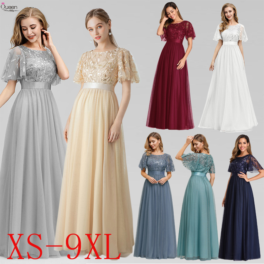 Sparkle Evening Dresses Long Sequined Queen Abby A-Line O-Neck Short Sleeve Tulle Elegant Party Gowns Robe De Soiree 2020