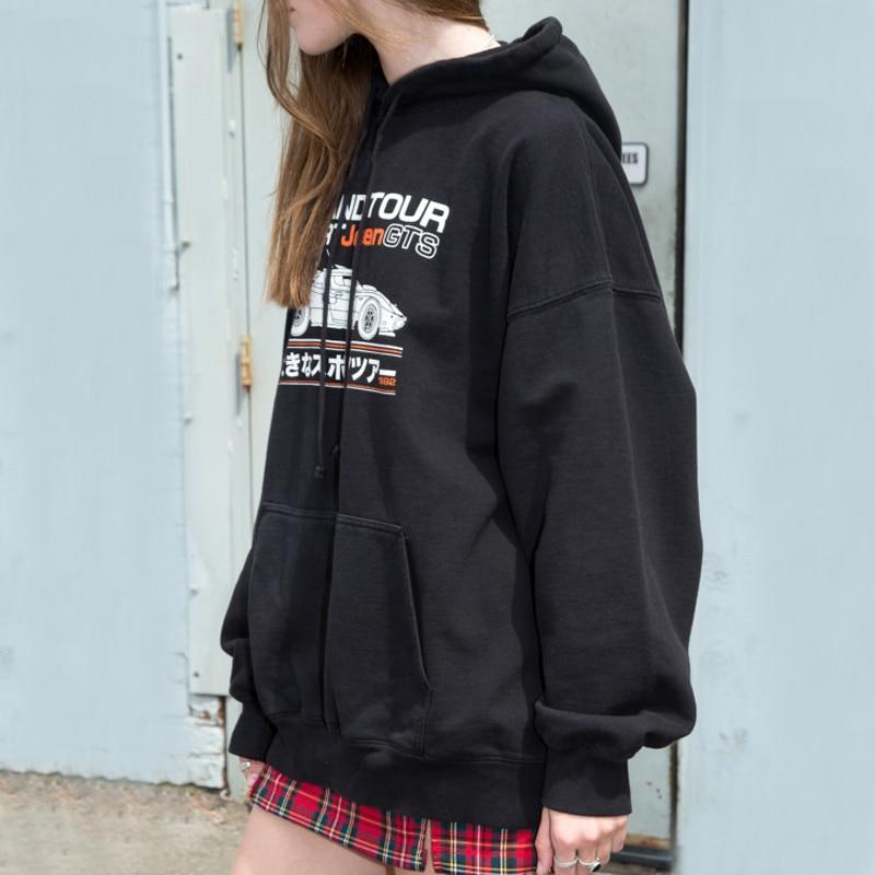Women Car Print Oversized Hoodie In Black Casual Drop Shoulder Hooded Sweatshirt With Fleece Inner