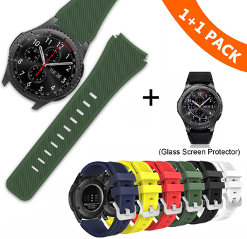 22mm Watch Band For Samsung Gear S3 Frontier Classic Strap Silicone Galaxy 46mm With Glass Protective Film - discount item  39% OFF Watches Accessories