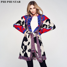 Phi Star winter sweaters cardigans women indie folk vintage Cow pattern jacquard tassels thick trench coat
