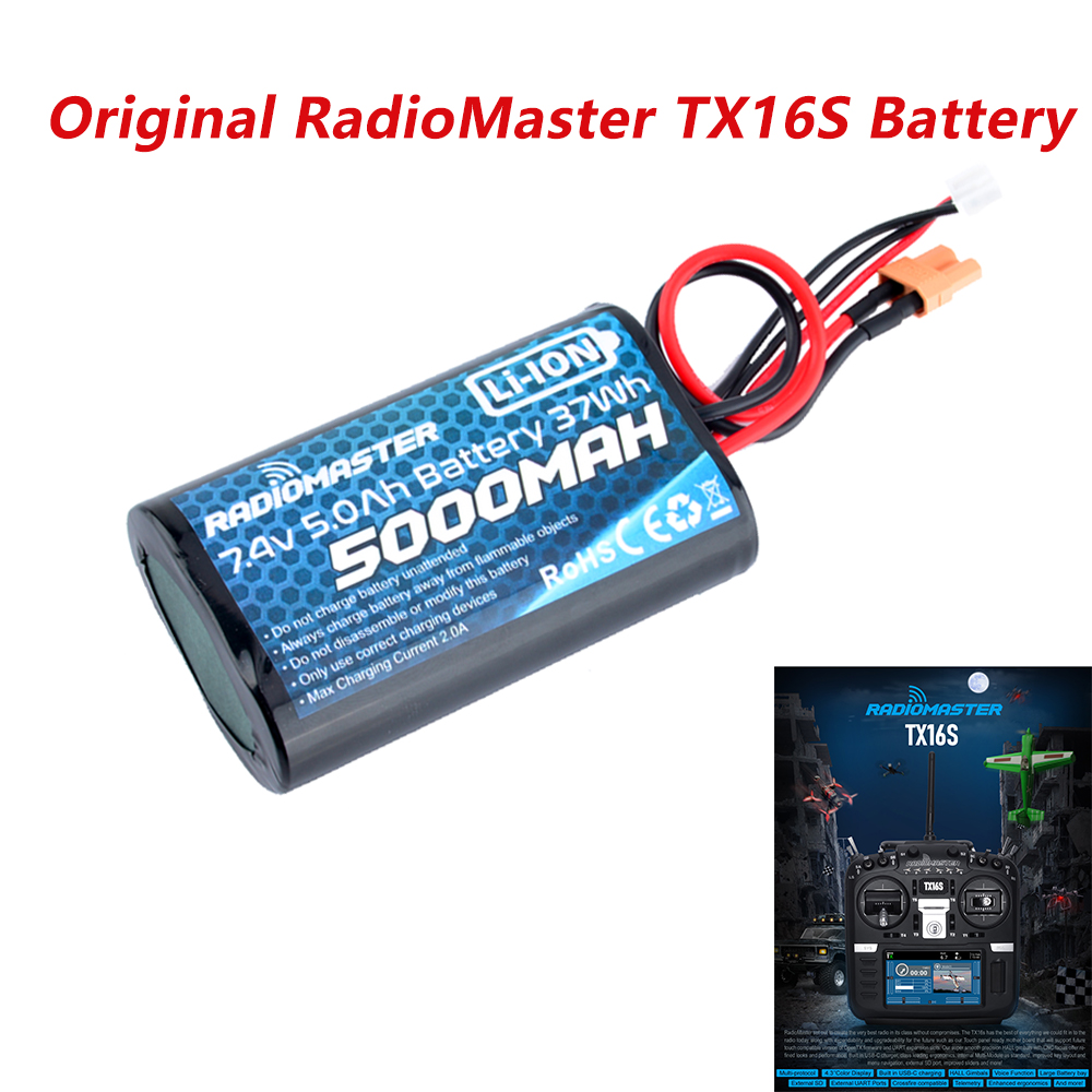 RadioMaster TX16S Original Transmitter <font><b>2S</b></font> <font><b>5000mAh</b></font> <font><b>Lipo</b></font> Battery Frsky Multi Protocol Open Source Remote Control FPV Racing Drone image