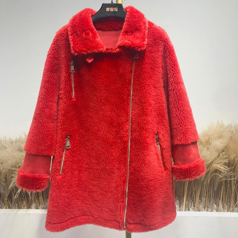 Real Fur Coat Women Sheep Shearing Winter Coat Women Korean 100% Wool Jacket Women Clothes 2020 Manteau Femme Z185 YY1050