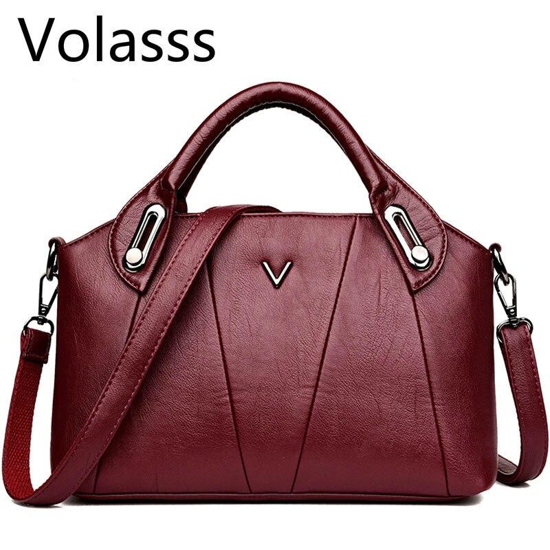 2019 Luxury Bags Women Leather Handbags Vintage Soft Leather Female Crossbody Shoulder Bags Ladies Designer Brand Bolsa Feminina