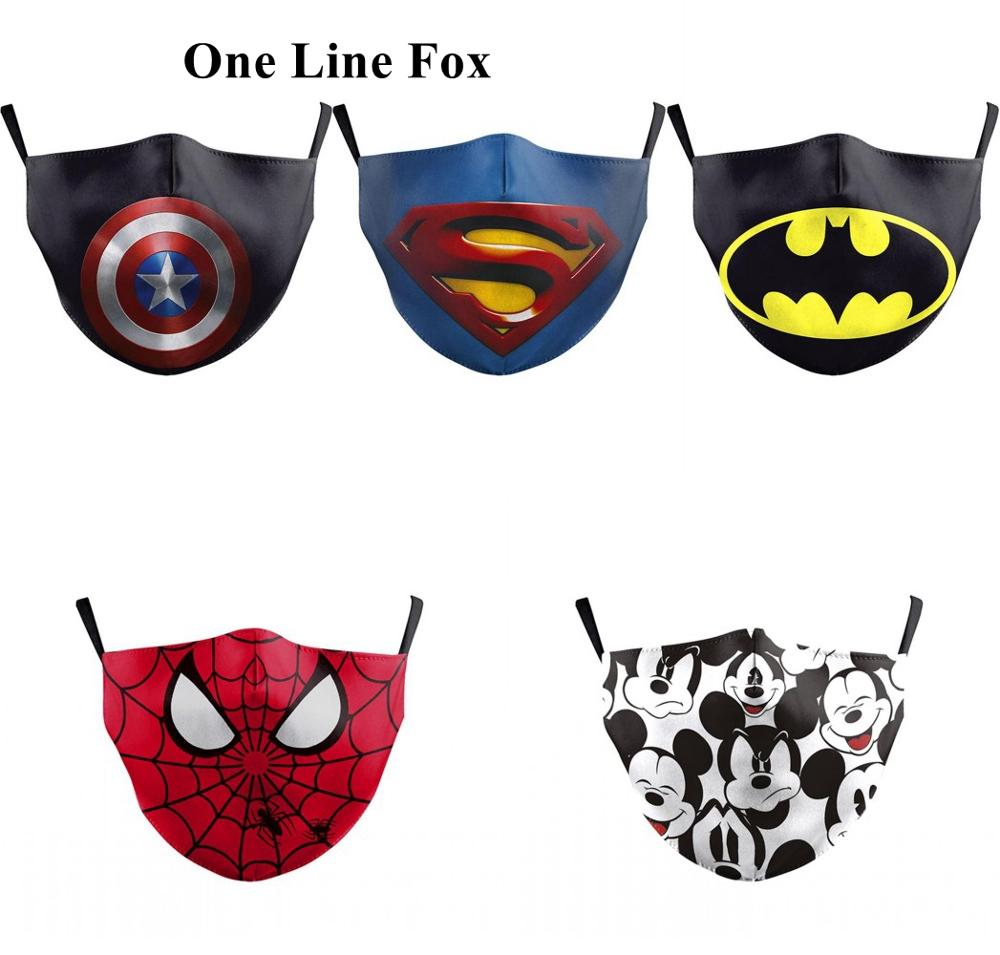 One Line Fox Washable Mouth Mask Print Mouse Anime Superhero Kids Protective Mask Spiderman Anti Dust PM2.5 Children Face Mask