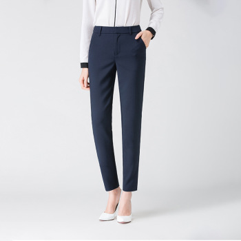 New Women Casual Spring Autumn Long Trousers Solid Elastic Waist Cotton Linen Pants Ankle Length Pants 4