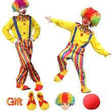 Ücretsiz kargo kostümleri çocuklar yetişkin sirk palyaço kostümü şapka peruk yaramaz Harlequin fantezi Fantasia Infantil Cosplay giyim