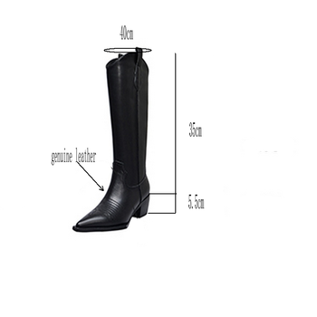 TXCNMB 2019 winter knee high boots for women high heel boots pointed toe genuine leather party dress shoes woman casual