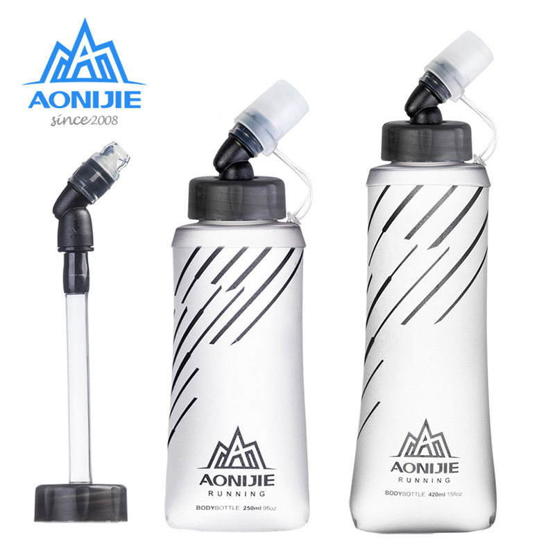 AONIJIE SD21 Soft Flask Collapsible 250ml 420ml Water Bottle Hydration Water Bladder For Running Marathon Cycling Trail Hiking