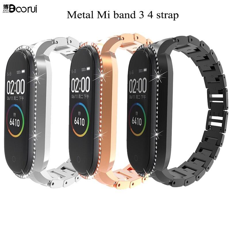 BOORUI  Metal Mi Band  3 4 Strap Mi Band 4 Wrist Strap Stainless Steel Metal Straps For Xiaomi Mi Band 4 3 With Diamond Case