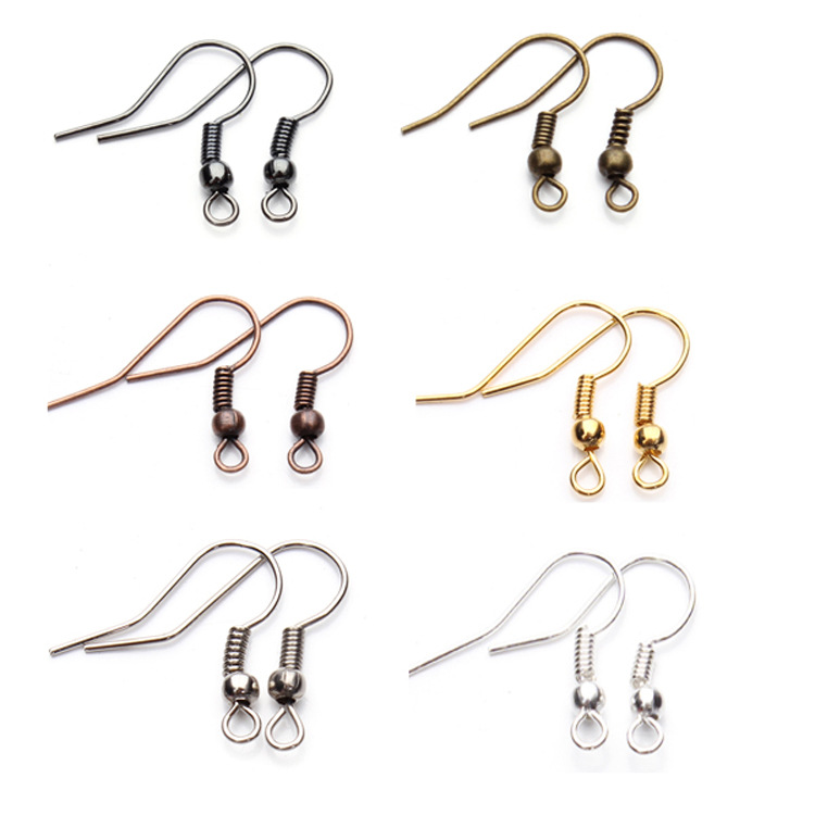 6Colors 200pcs/lot Fashion Iron Ear Hook Wire Clasp With Bead Charms Earring Hooks Wires Fit DIY Jewelry Making Findings