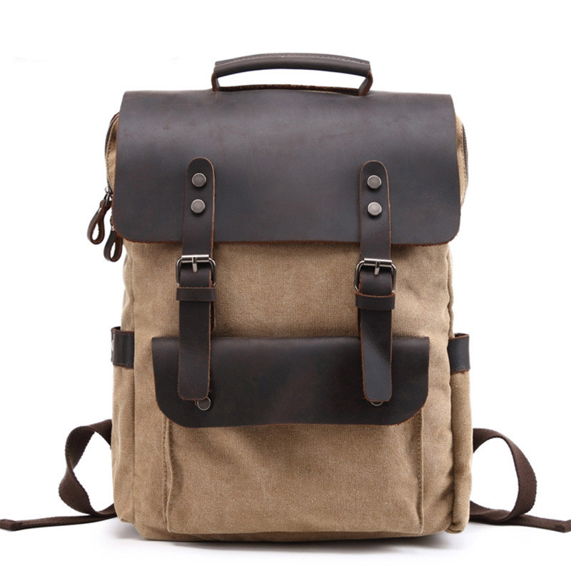 Backpacks Vintage Canvas Backpack Neutral College Wind Bags Canvas Bag Horse Leather Outdoor Backpack Mountaineering Bag