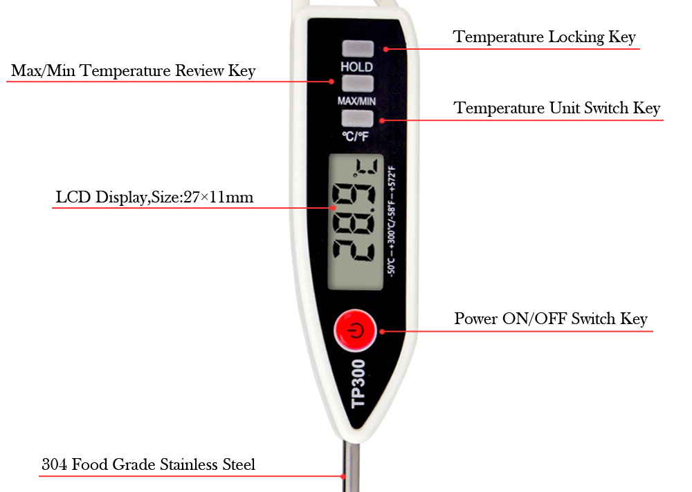 MOSEKO Newest Digital Food Thermometer for Cooked Food Barbecue and Milk with LCD Display and Temperature Control Key and Stainless Steel Probe 9