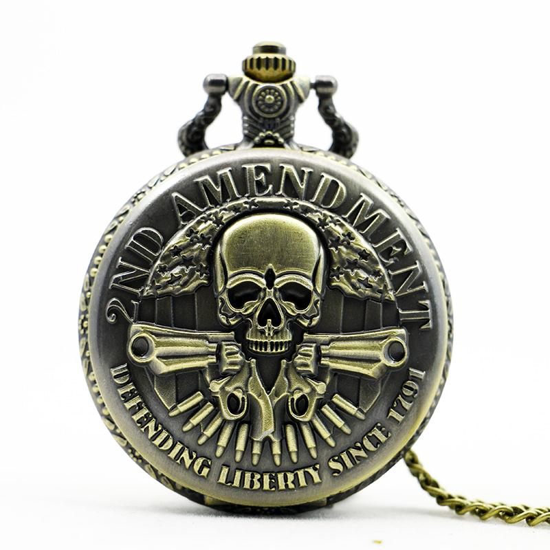 Pocket Watch Men Watches With Necklace Chain Men Gift Masculino Relogio Hombre Saati New 2ND AMENDMENT Bronze Skull Pendant