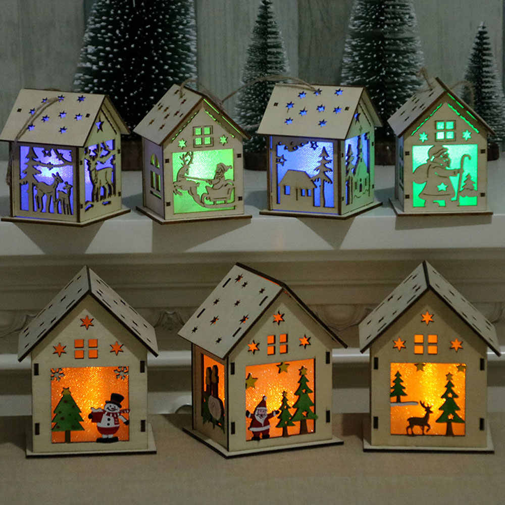 Festival Led Light Wood House Christmas Tree Decorations For Home Nice Illuminated Wooden House Christmas Tree Hanging Ornament