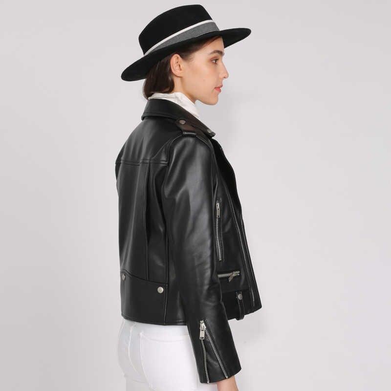 Bahar hakiki deri ceket kadınlar 2019 moda gerçek koyun derisi ceket perçin motosiklet Biker ceket kadın koyun deri ceket