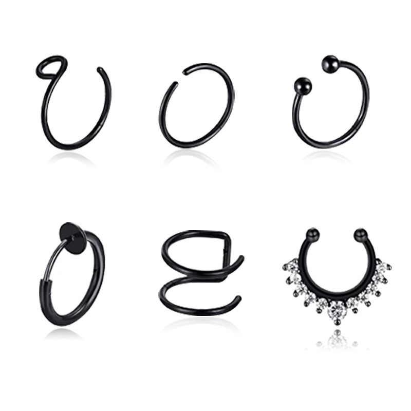 אופנה פאנק סגנון 6PCS נירוסטה C בצורת אוזן קליפ אוזן קאף מזויף האף טבעת מגמת עגילי עבור נשים גבר סחוס עגיל