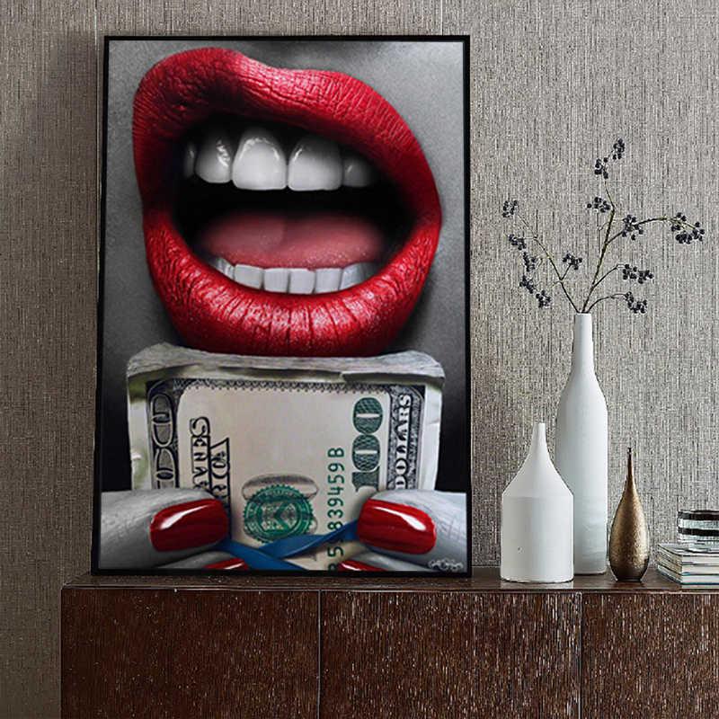 Sexy boca com a terra e diamante arte da parede pintura abstrata fotos de arte para sala estar quadros lona moderno quadro decoração casa