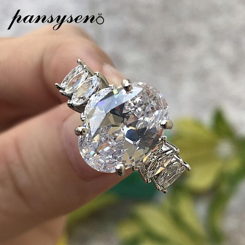 PANSYSEN solide 925 en argent Sterling coupe ovale créé Moissanite diamant mariage bandes Fine bijoux bague or blanc couleur anneaux