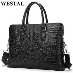 WESTAL men's genuine leather briefcase luxury brand crocodile pattern office bag for men leather laptop bag porte document 17623