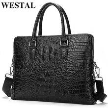 WESTAL men's genuine leather briefcase luxury brand crocodile pattern office bag