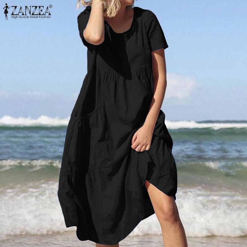 Summer Short Sleeve Solid Cotton Linen Dress ZANZEA Women Vintage Midi Dresses Casual Sundress Robe Femme Work OL Vestido Mujer