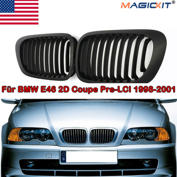 MagicKit NEW Pair Matte Black Car Front Kidney Sport Grill Racing Grilles For BMW 3 Series E46 M3 2D Coupe Convertible 1999-2001 image