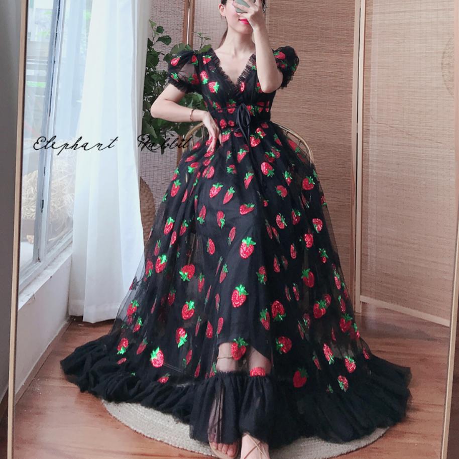 Plus size 5XL Women Black Pink Strawberry Sequined Dress v neck Sweet Elegant Evening Party Formal Dress Classy Maxi Dress