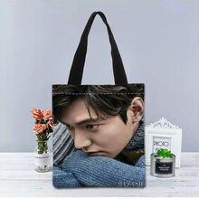 New Custom Lee Min Ho stampato Borsa di tela Della Borsa sacchetti di acquisto del tote donne del Sacchetto di Spalla del sacchetto di viaggio Casual Utile
