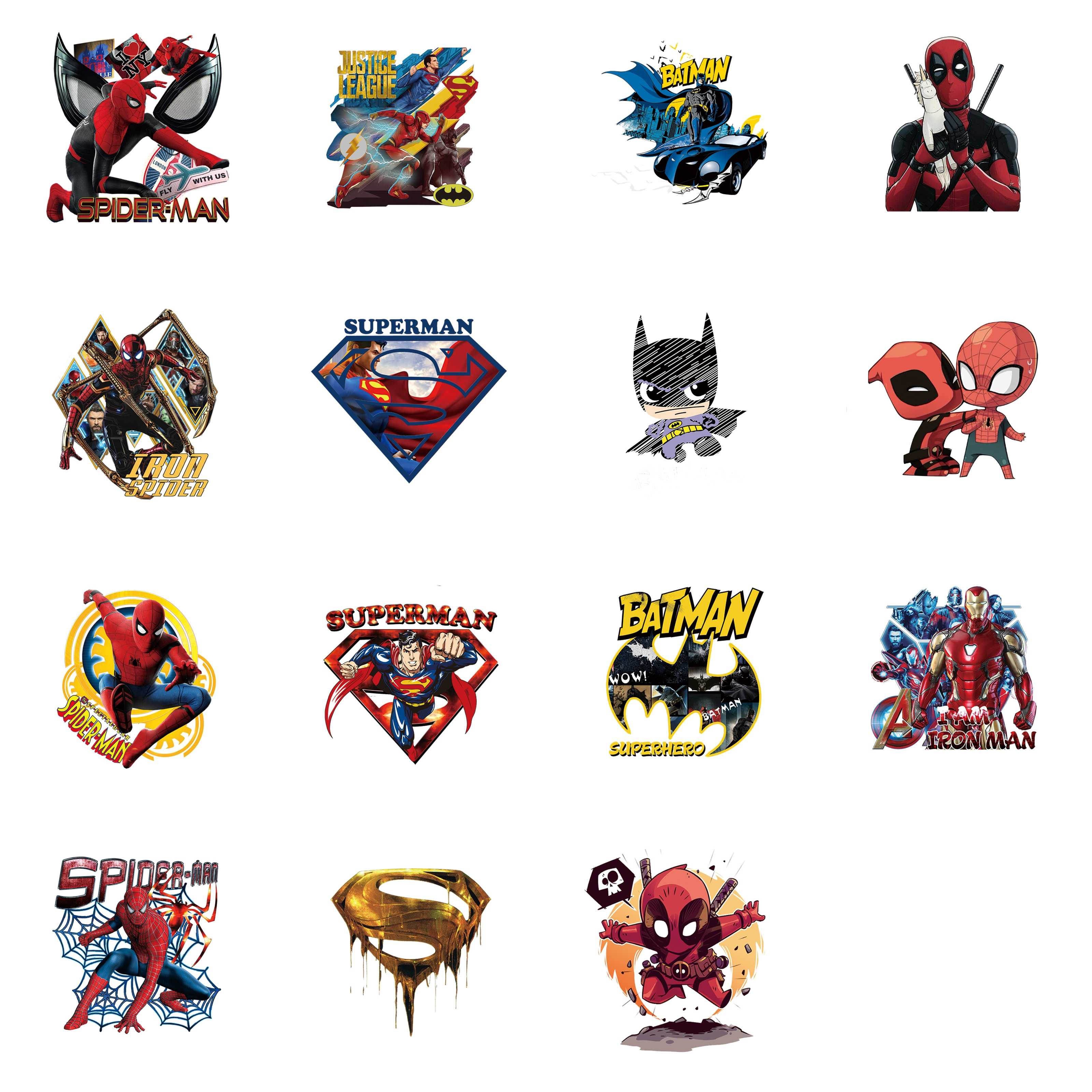 1PCS Marvel Bat Man Icon Hero Printing Kids DIY T-shirt Accessories Patch Thermal Transfer Applique Heat-sensitive Iron On