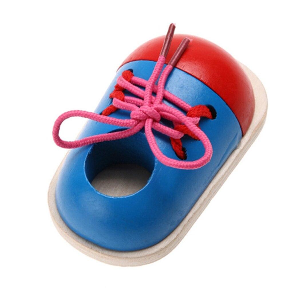 1Piece Kids DIY Eva Clock Learning Education Fashion Toddler Lacing Shoes Montessori Kids Wooden Toys Children Toys