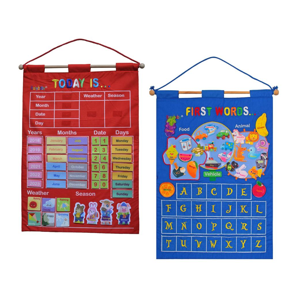 Fabric Calendar Learning Chart Crafts With Weather Season Months Week Date Letters - For Kids Early Education