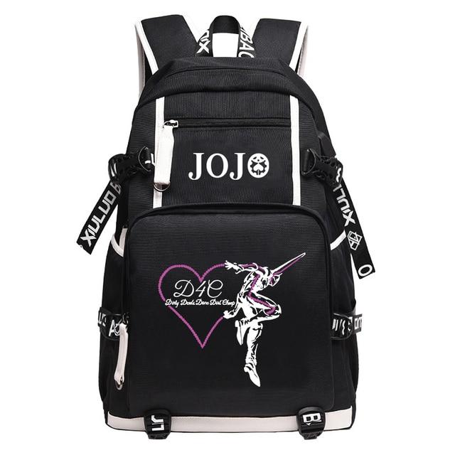 JoJo's Bizarre Adventure Large School Backpack Anime KILLER QUEEN DIO Bookbag Oxford Travel Bagpack Cartoon USB Laptop Mochilas 3