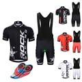 Pro Abbigliamento Ciclismo Set 2019 Squadra Rock Racing Manica Corta Bici Jersey + Traspirante Shorts Kit Maglia Ciclismo Usura di Riciclaggio