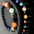 Браслеты парные восемь планет из натурального камня для влюбленных лечебная Вселенная Галактика бусины для мужчин Смешанные цвета браслет...