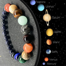 Casal oito planetas pulseira de pedra natural amantes cura universo galaxy grânulos para homens cores misturadas pulseiras para mulher