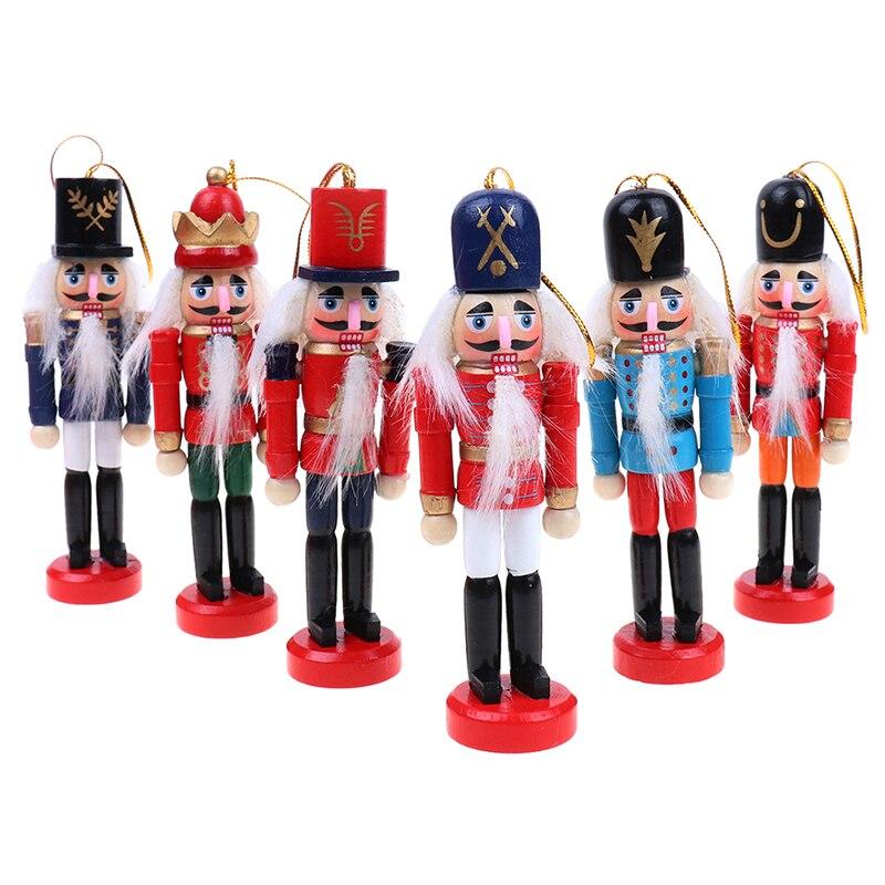 12cm Nutcracker Puppet Christmas Ornaments Desktop Decoration Cartoons Drawing Walnuts Soldiers Band Dolls Nutcracker Miniatures