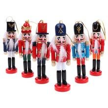 12cm Cascanueces títeres adornos de Navidad decoración de escritorio dibujos animados dibujo nueces soldados banda muñecas Cascanueces miniaturas