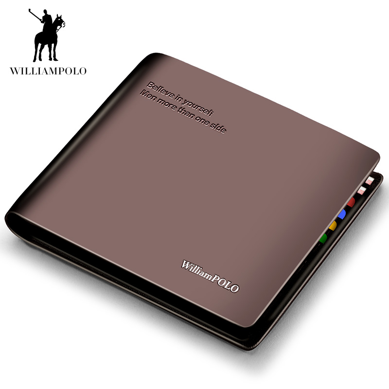 WILLIAMPOLO Solid Wallet Men Luxury Brand Genuine Leather Fashion High Quality Coin Purse Casual Note Compartments With Letter