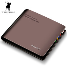 WilliamPolo short Wallet mens slim Credit Card Holder Bifold Genuine Leather Mul