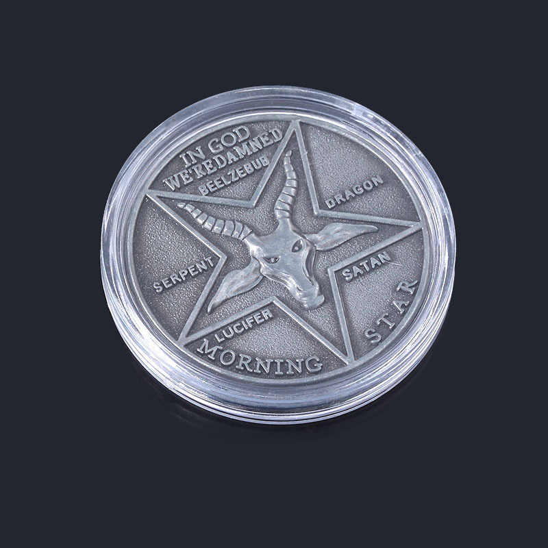 Hot Movie Lucifer Verzamelen Coin Cosplay Kostuums Accessoires Satanic Pentecost Badge Gouden Zilveren Fancy Gift