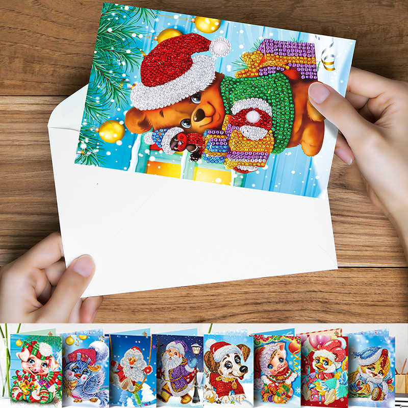 AZQSD Christmas Diamond Painting Cards Gift Round Drill DIY Special Embroidery Full Set Handicraft Kid Gift 13x18cm