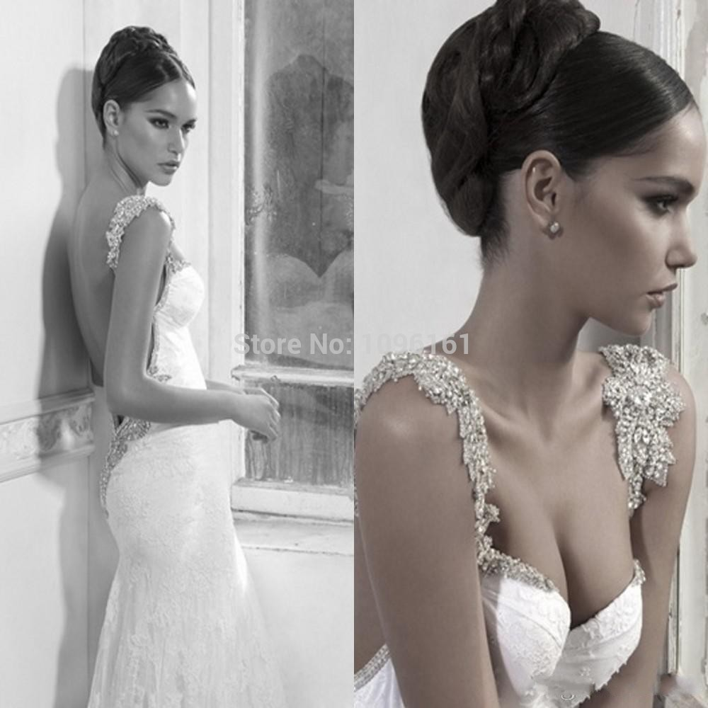 Casamento New Royal Style 2015 Lace Wedding Dress White Mermaid Stap Shining Sexy Backless Bridal Gown Beads Court Train