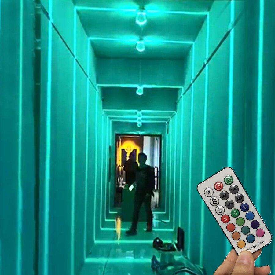 Thrisdar Remote Control 10W RGB Window Door Frame Wall Lamp Surface Mounted KTV Hotel Corridor Bedroom Ray Line Wall Spot light