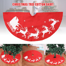 Christmas Tree Cover Skirt Deer Pattern Decoration Round Red for Home Holiday Party DC112