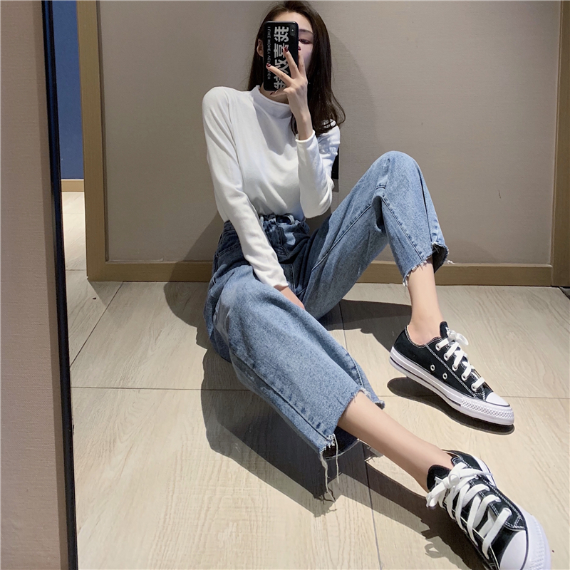 Women High Waist Mom   Jeans   Denim Wide Leg   Jeans   Blue Loose Trousers Full Length Boyfriend   Jeans   Mujer Pants