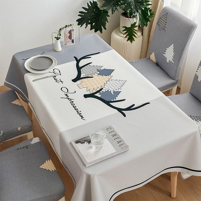 Декоративная льняная скатерть с цветочной вышивкой чехол на