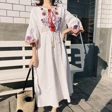 Тайское летнее 2019 новое белое хлопковое и льняное платье с
